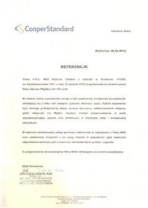 Referencje Cooper Standard  - czołowy dostawca w branży produktów samochodowych oferująca m.in. rozwiązania w uszczelnianiu karoserii